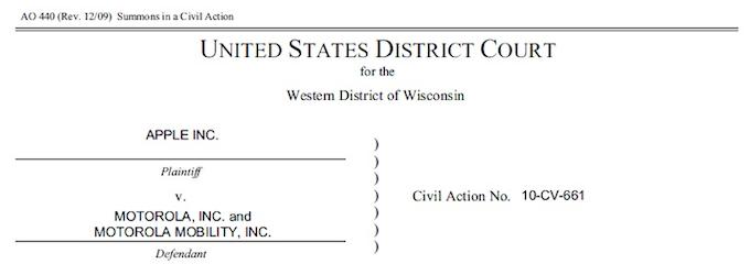 Apple - Citazione a Motorola per violazione di sei brevetti