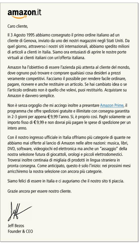 Amazon apre in Italia - Lettera del CEO e fondatore
