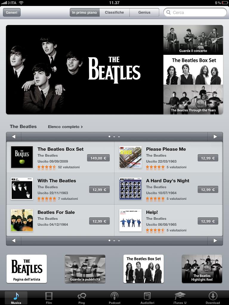 La presenza dei Beatles su iTunes Store nei giorni del debutto