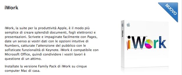 """iWork con linguetta """"Nuovo"""" su Apple Online Store"""