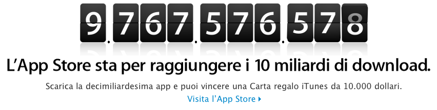App Store - Countdown 10.000.000.000 download - Concorso - Carta regalo iTunes