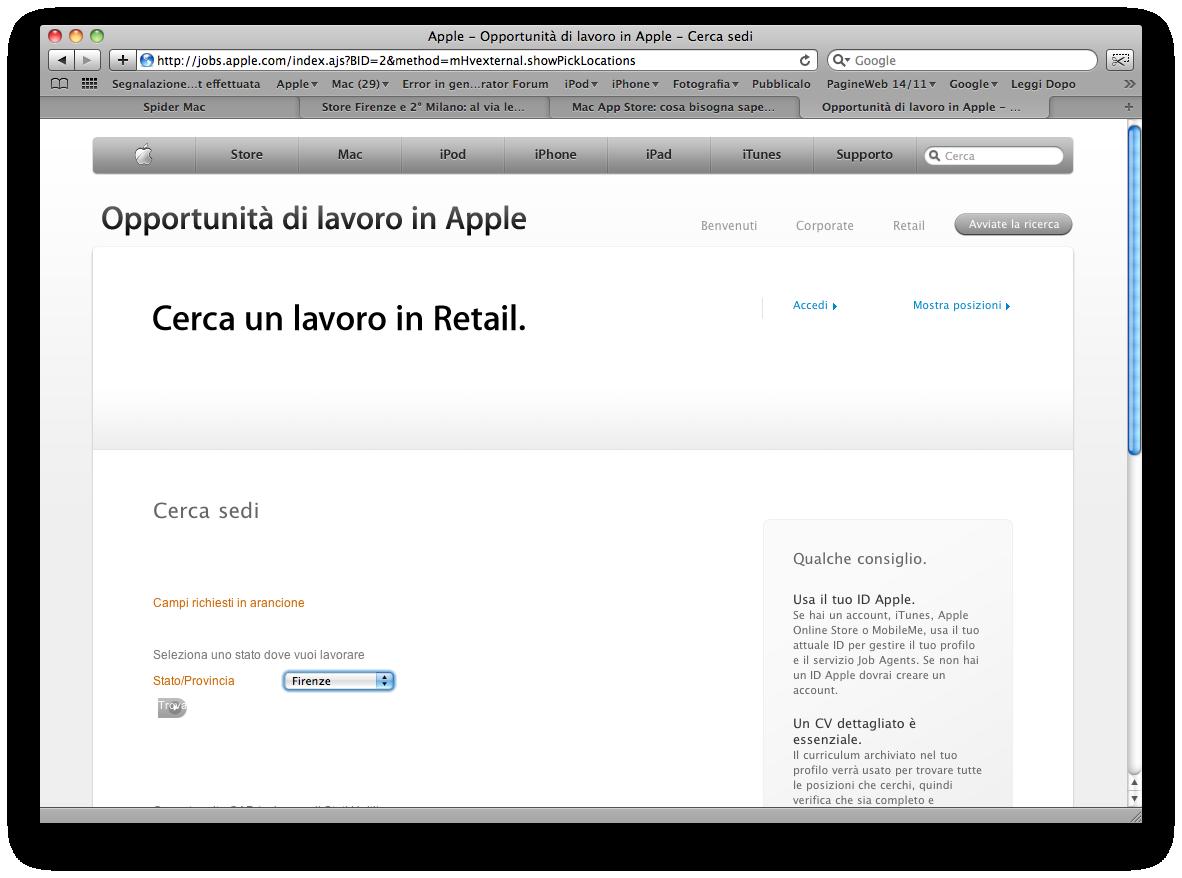 Apple Retail Store - Ricerca personale - Posizioni aperte su Firenze