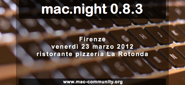 Mac.night 0.8.3 - Banner - Mac-community - Firenze - Toscana - AMUG Firenze