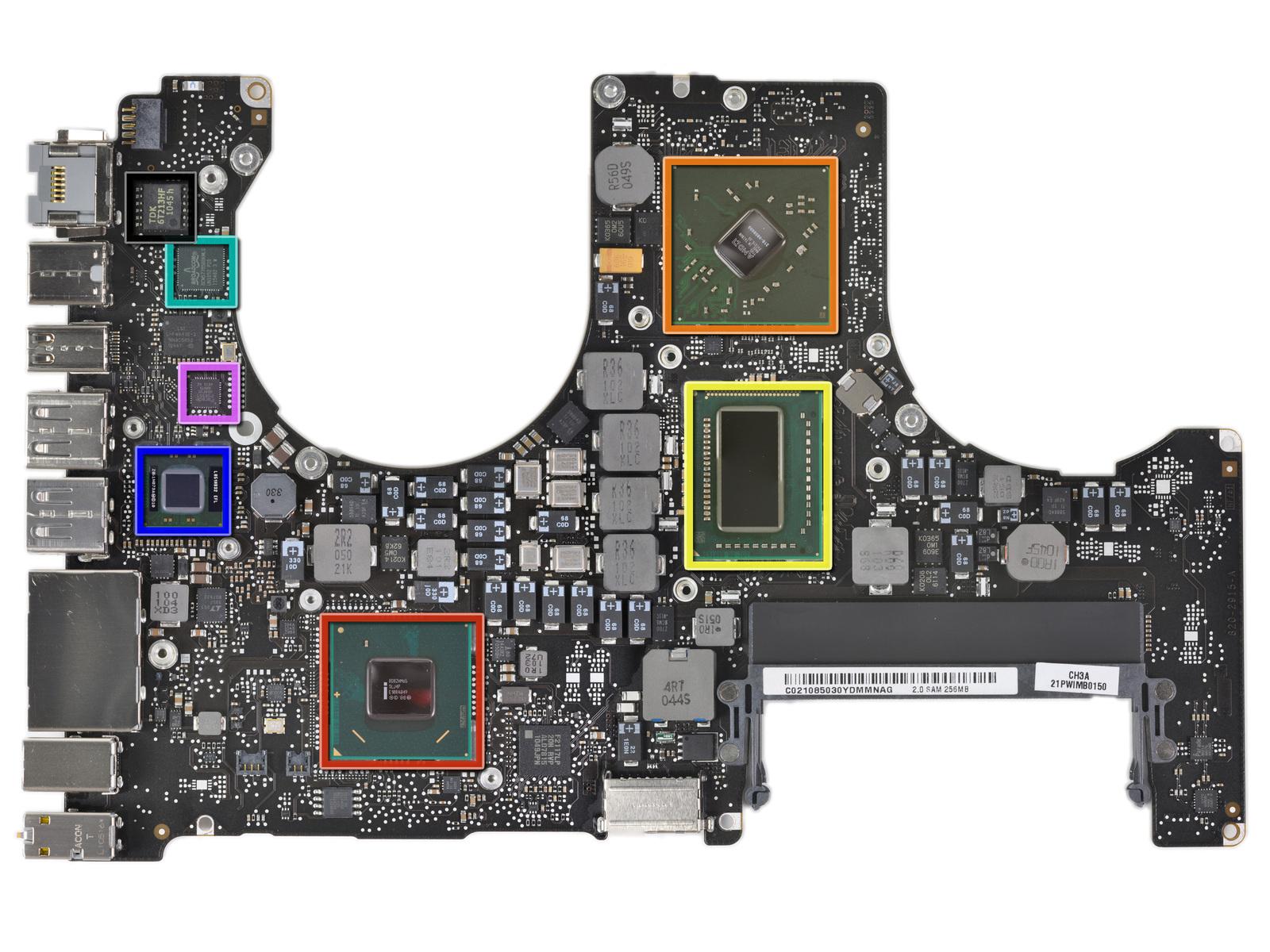 MacBook Pro Early 2011 - Parte frontale scheda logica