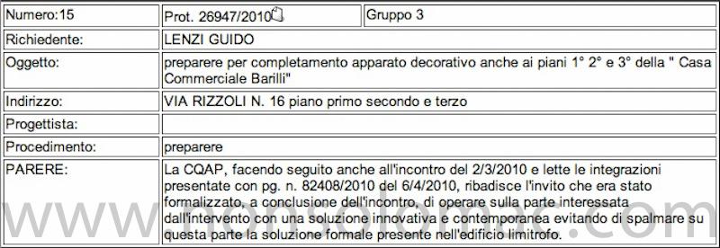 Bologna - Parere della commissione per la qualità architettonica ed il paesaggio sui lavori alla facciata di Casa Commerciale Barilli