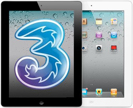 iPad 2 bianco e nero con Logo 3 Italia blu