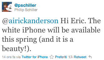 Phil Shiller - Twitter- iPhone bianco - iPhone white