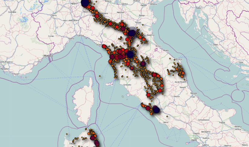 Localizzazione satellitare degli spostamenti di un utente iPhone
