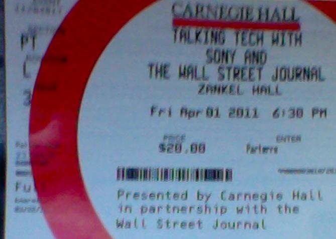 Wall Street Journal - Incontro col CEO Sony - Ticket - Biglietto - 1 aprile 2011
