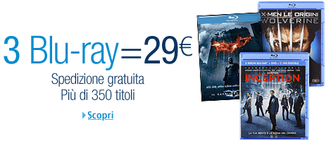 Amazon.it - Offerta - 3 Blu-Ray a 29€, 1 Blu-Ray a 11,99€