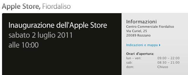 Apple Store Fiordaliso - Inaugurazione sabato 2 luglio