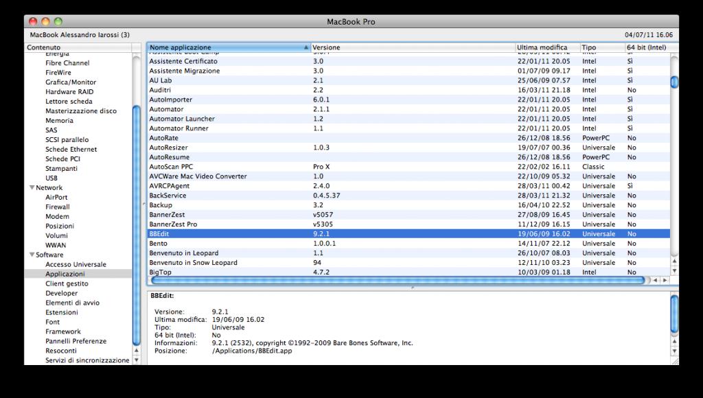 System Profiler - Screenshot delle applicazioni installate nel sistema