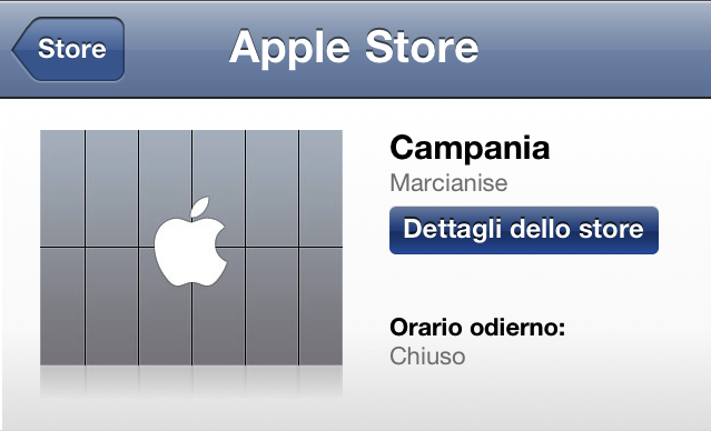 Apple Store Campania - Screenshot in anteprima dall'App Apple Store