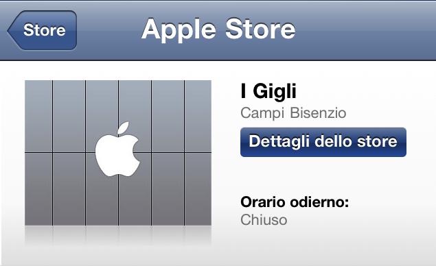 Apple Store I Gigli - Firenze - Campi Bisenzio - Screenshot della Scheda del negozio nell'App per iOS