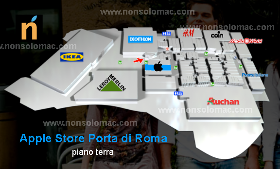Apple Store Porta di Roma - Pianta con la presunta posizione del negozio