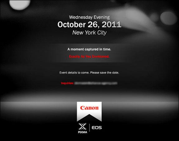 Canon - Evento del 26 ottobre 2011 - L'invito con i loghi EOS e Pixma