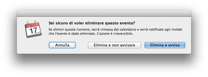 Lion - Screenshot messaggio cancellazione evento