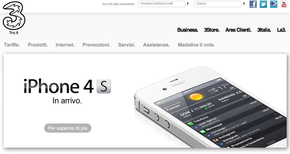 iPhone 4S sul sito 3 Italia