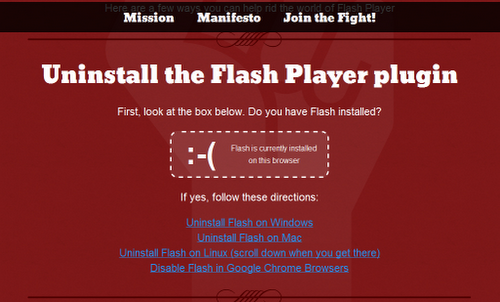 Occupy Flash - Uninstall Flash plug-in