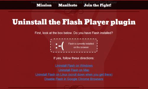 Occupy Flash - Uninstall Flash plug-in