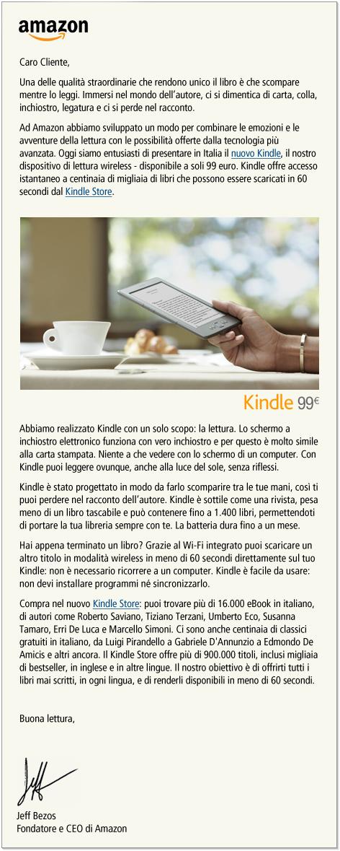 Amazon - Messaggio di Jeff Bezos per il nuovo Kindle