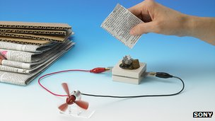 Sony - Bio-batterie basate sulla carta riciclabile