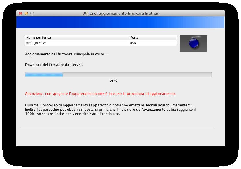 Brother MFC-J430W - Installazione firmware aggiornato compatibile con AirPrint (versione G)