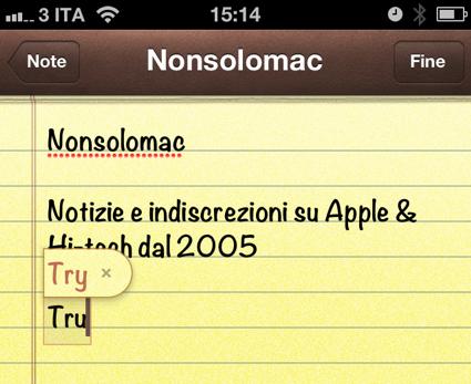 iOS 5 - Autocorrezione in azione durante la scrittura di una nota
