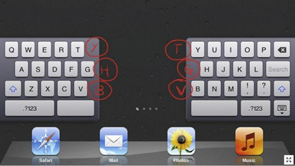 iPad - Split Keyboard - Tasti fantasma