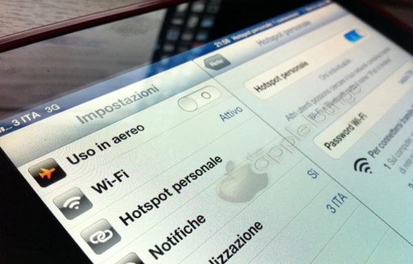 iPad 3 con Personal HotSpot attivato