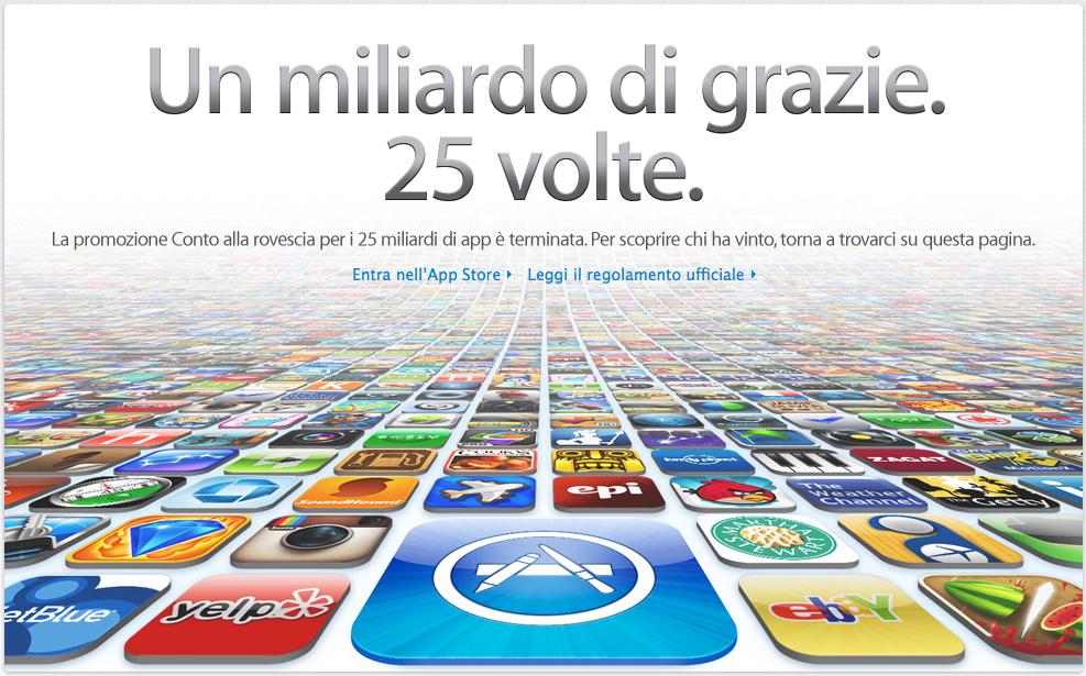 25 miliardi di download - App Stpre - Traguardo raggiunto