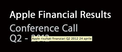 Apple - Risultati fiscali Q2-2012
