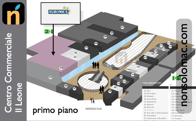 Centro Commerciale Il Leone (BS) - Posizione del negozio Euronics, possibile location del nuovo Apple Store