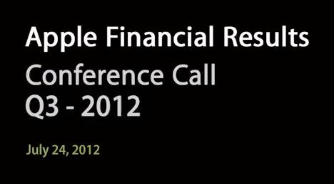 Apple - Conference Call - Risultati finanziari Q3 - 2012