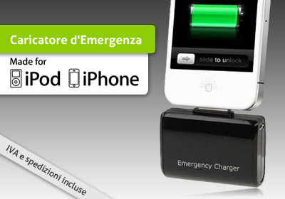 Caricatore di emergenza per iPod e iPhone a batterie AA stilo