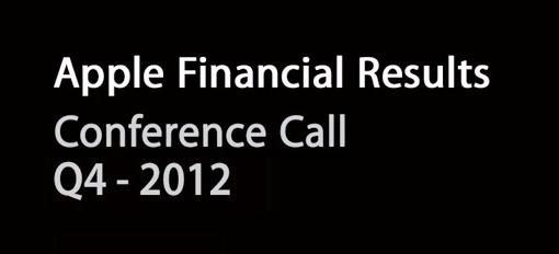 Apple - Conference Call Q4-2012 - Risutati fiscali quarto trimestre 2012
