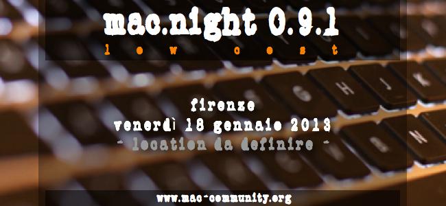 Mac.night 0.9.1 low cost - Mac-community - Firenze - Amug - Apple User Group - Toscana