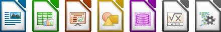 LibreOffice - Icone delle applicazioni che compongono la suite di produttività open-sopurce