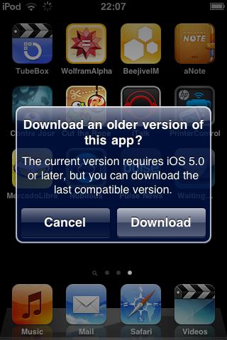 App Store - Older versione - Screenshot del messaggio di avviso