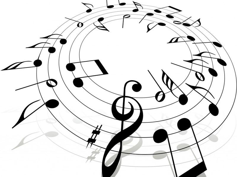 Note musicali in bianco e nero