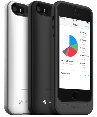 Mophie Space Pack - Batteria e memoria aggiuntiva per iPhone 5 e 5S