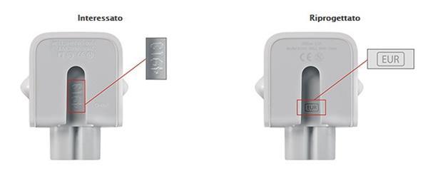 Richiamo adattatori a muro CA per alimentatori Apple