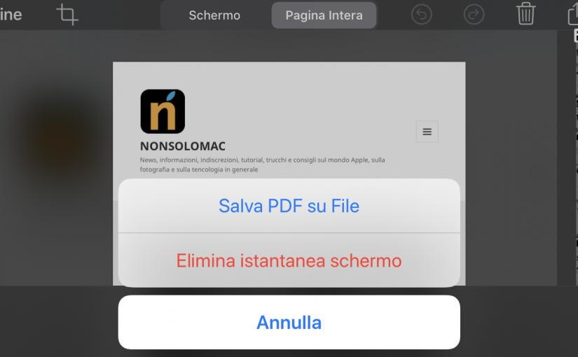 Salvare il PDF di una pagina web in iOS 13