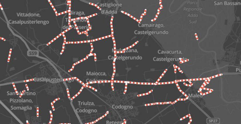 Waze mostra le strade lombarde e venete chiuse per l'emergenza Coronavirus