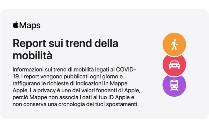 La mappatura degli spostamenti basata sull'app Mappe copre ora tutta l'Italia