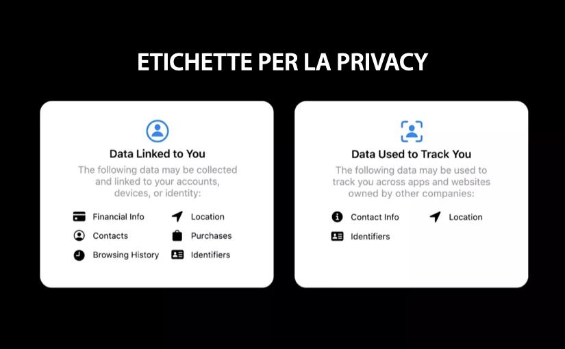 Le Etichette sulla privacy delle applicazioni Apple