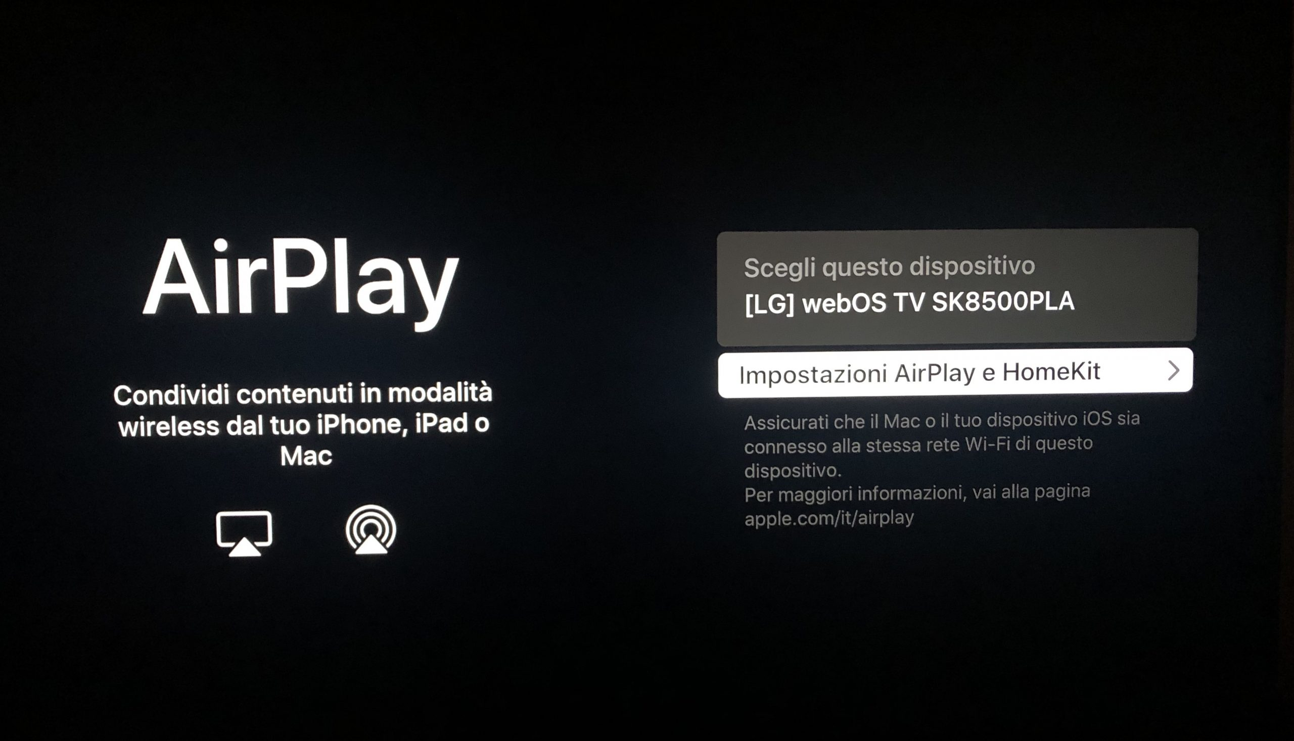 AirPlay on LG 55SK8500