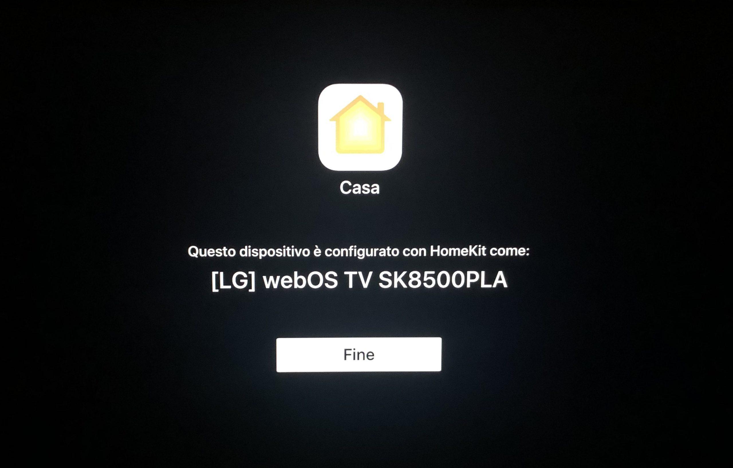 Apple HomeKit impostato su smart TV della LG