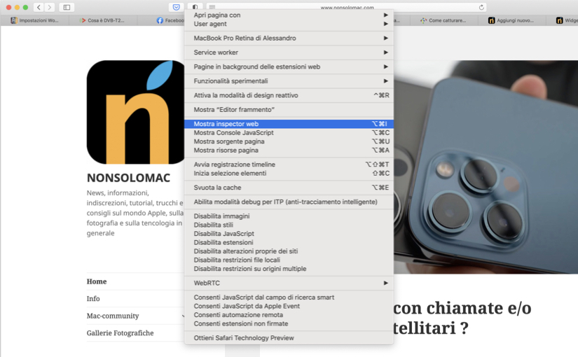 Catturare lo screenshot di un'intera pagina di un sito web in Safari