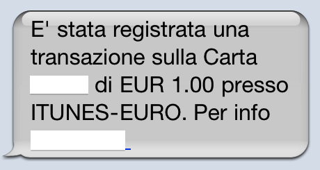 iTunes Store - SMS di notifica addebito temporaneo